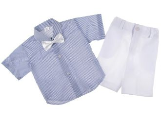 """Детски костюм """"Малък мъж"""" лято в бяло (от 3 месеца до 5г.)"""