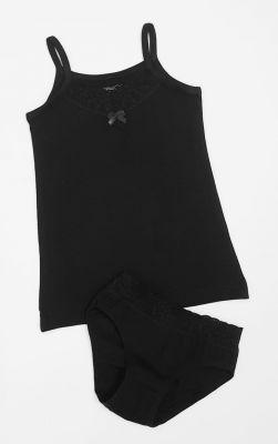 Детски комплект с дантела в черно (от 98 до 170см.)
