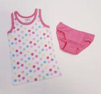 Детско памучно бельо на точки в бонбонено (от 92см до 140см)