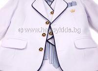 """Официален костюм """"Малък Мъж"""" в бяло"""