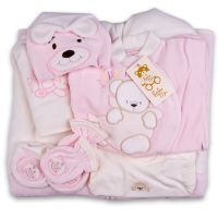 Плюшен комплект за изписване с порт бебе в розово
