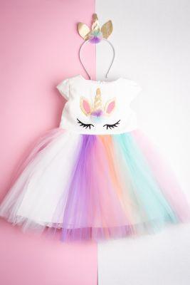 """Детска официална рокля с тюл """"Еднорог"""" (от 110 до 128см.)"""
