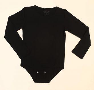 Детско боди с дълъг ръкав в черно (от 104 до 170см.)