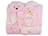 Памучен комплект за изписване с порт бебе в розово