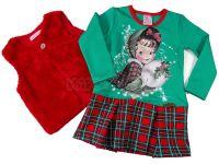 Детска коледна рокля с елек