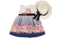"""Детска рокля с шапка """"Цветя"""" (от 92 до 104см.)"""